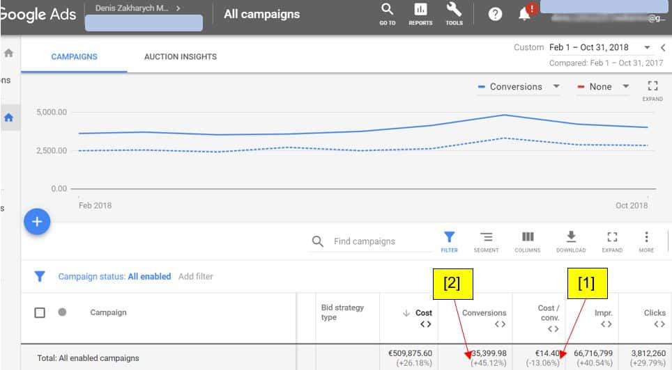 Google Ads results showing Ecommerce Scaling and Growth