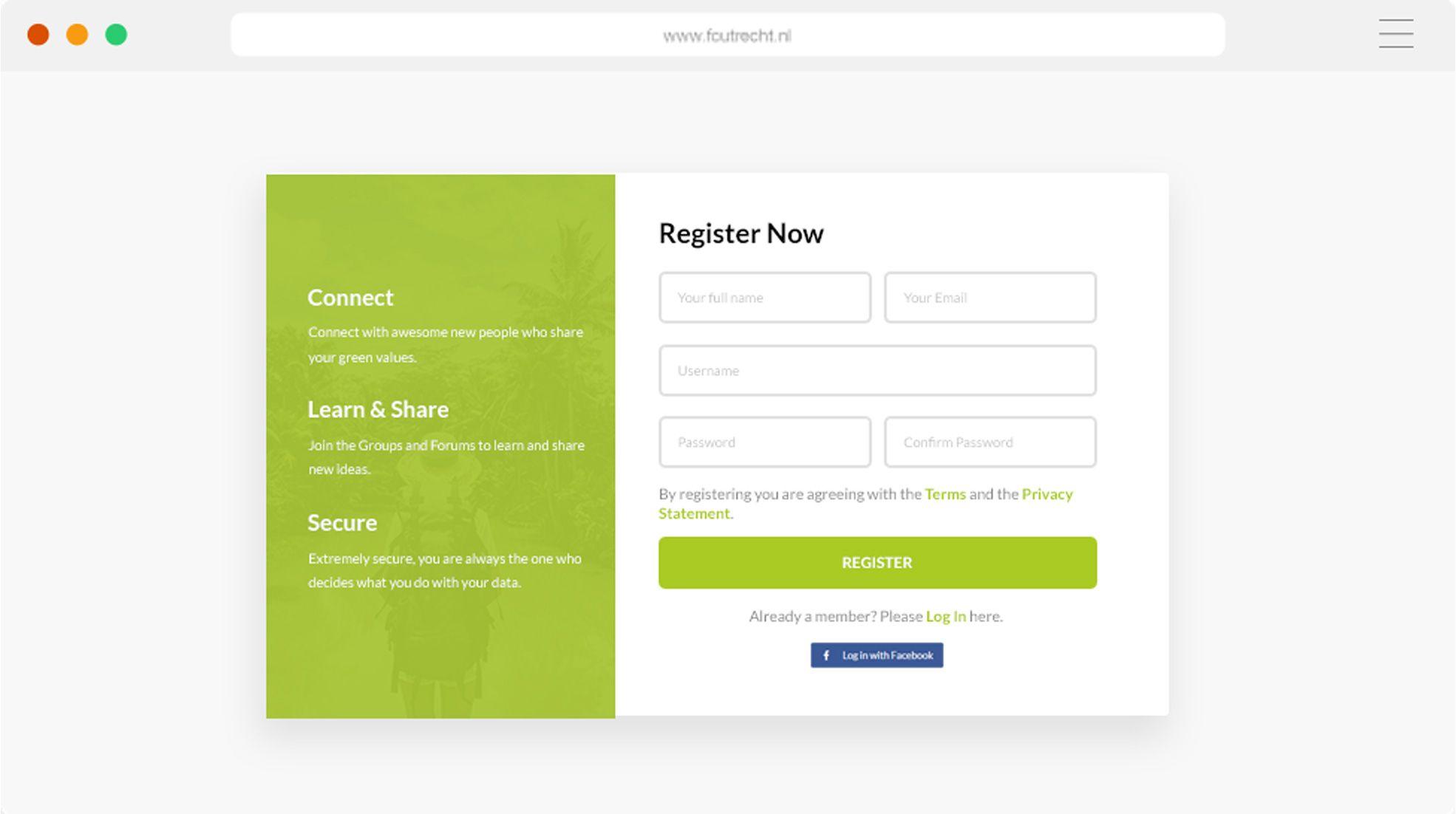 Republic Of Green Register Now Screen