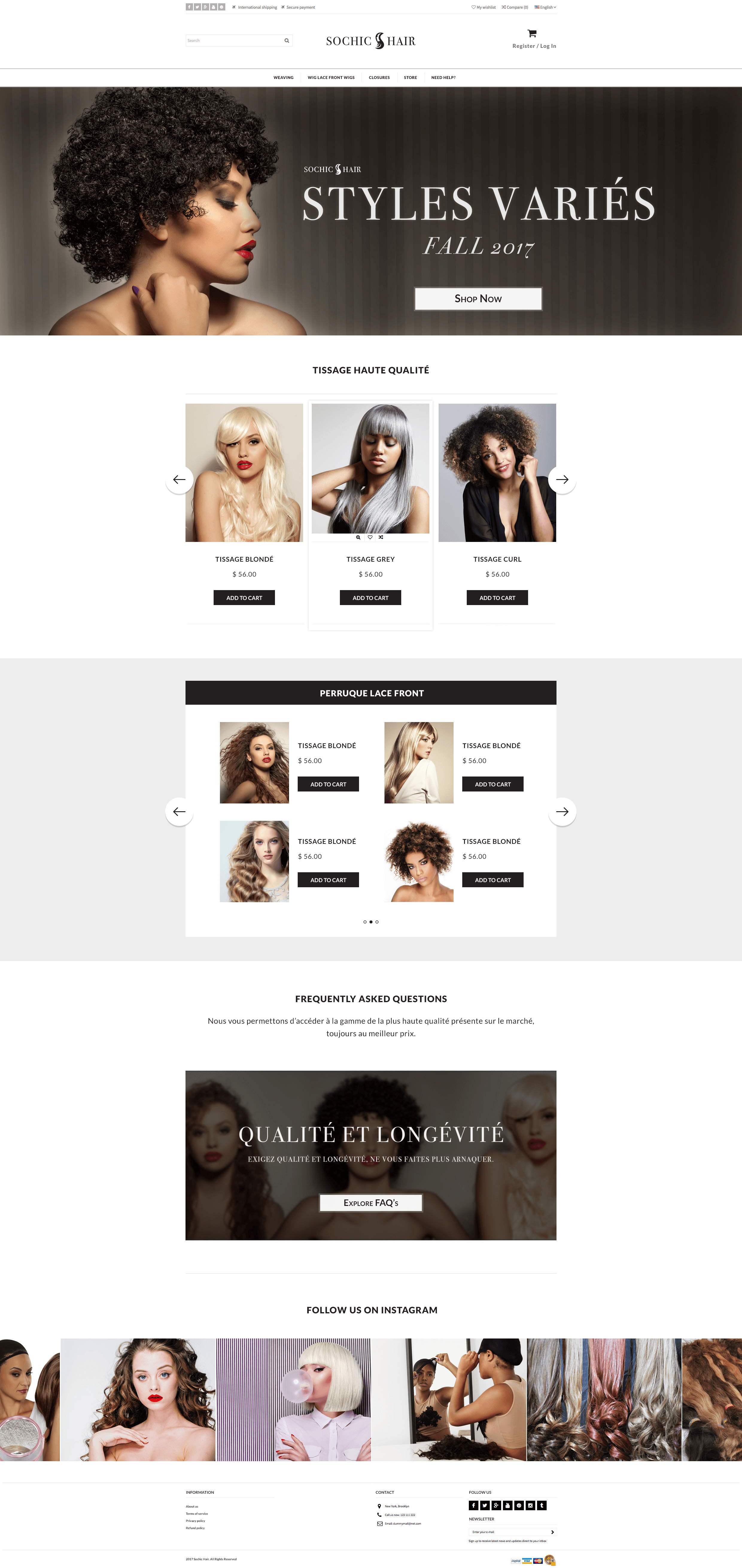 Sochic Hair Full Website Home Page View
