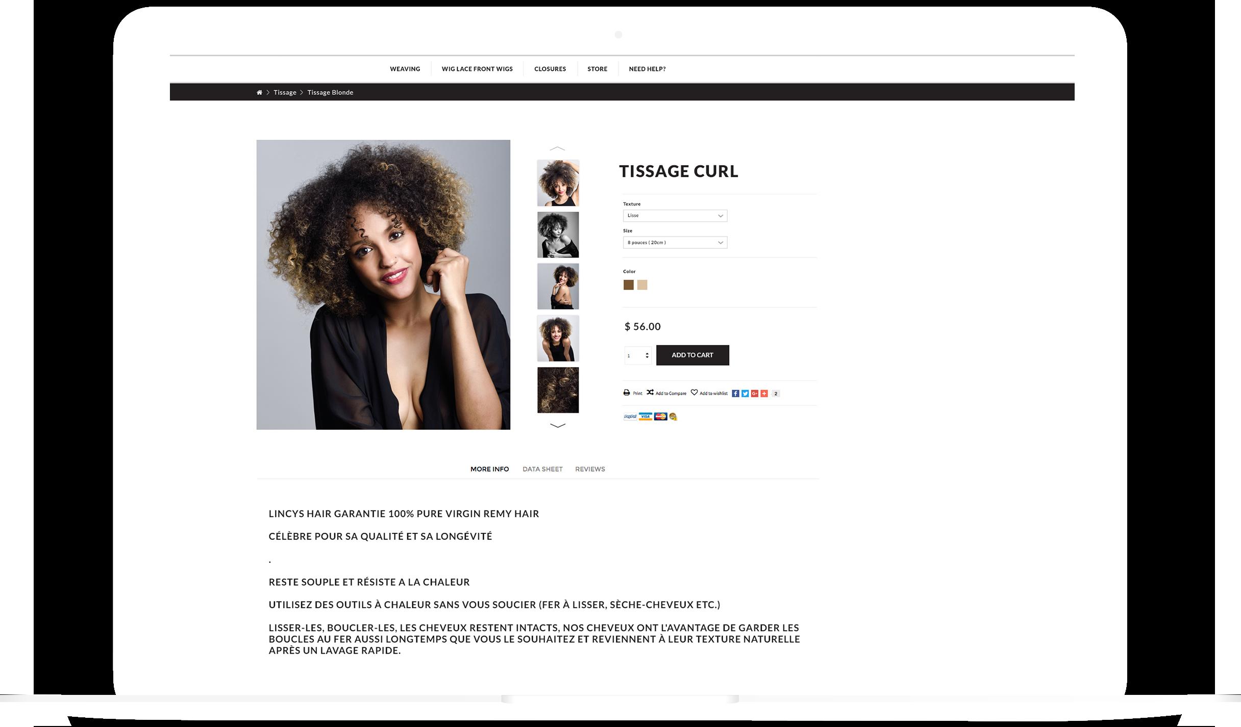 Sochic Hair Website UI Design